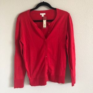 Red long sleeve cardigan